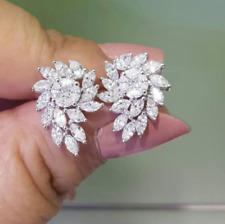 2.50Ct Round Cut D/VVS1 Diamond Cluster Stud Earrings Solid 14K White Gold Over