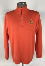 Ralph Lauren Green Label 1/2 Zip Pullover Sweater Mens SZ M Orange Knit cotton