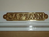 Brass  ( CAPTAIN ) Sign Hand Casted Door Plaque - Office Cabin/Bar/ Pub Nautical
