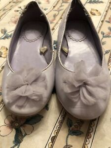 Used Janie & Jack Violet Meadow Patent Leather Shoes Size 9 Rosette Mary Jane