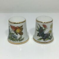 Lot of 2 Porcelain Thimbles Made in Japan Butterfly Flowers Gold Tone Trim