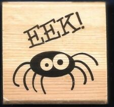 SPIDER EEK! Arachnid HAPPY HALLOWEEN NEW Craft Smart 2010 wood RUBBER STAMP