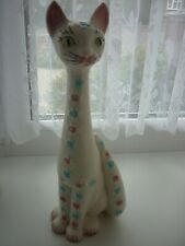More details for long neck tall sylvac cat with flowers approx 12.5 inches