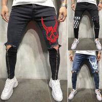 Men Skinny jeans Denim Pant Frayed Jeans Ripped Pant Casual Pants Long Trouser