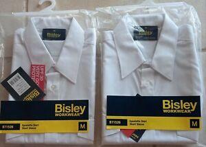 2 Epaulette Shirts Short Sleeve White Size M B71526 UPF 30 New