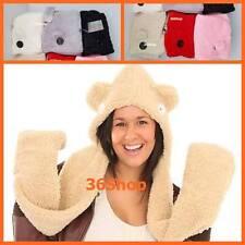 New = CUTE !  Winter Fluffy Soft Fleece Snood Hood Hat Scarf Groves