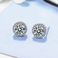 925 Sterling Sillver Shiny Round CZ Crystal Stud Earrrings For Women Jewellery