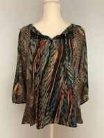 Olive Hill Womens Top Blouse Size S Tribal Print Front Tie Lace Trim 3/4 Sleeve