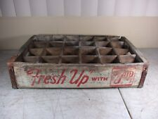 Vtg FRESH UP WITH 7 UP Wooden Soda Bottle Crate Carrier 24 Case White & Red (2)