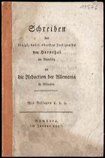 Bavière justizrath de Hornthal à la redaction des allemania Munich 1817