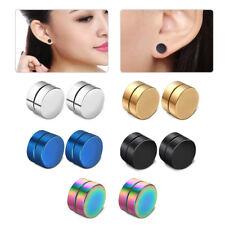 Men Women Punk 8MM Stainless Steel Magnetic Earring Clip On Ear Stud No Piercing