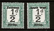 SOUTH WEST AFRICA (750) SG16 PAIR AS SINGLES 1/2d GREEN VERY FINE MM / MH