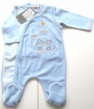 Nicki Strampler Set Gr.50 /56 Schnizler NEU blau Frühchen shirt velour baby ssv
