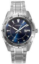 Citizen Mens BI1040-50L Dress Blue Dial Stainless Steel Silver Date Quartz Watch
