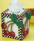 CHEERY CHERRIES TISSUE BOX COVER HOME DECOR PLASTIC CANVAS PATTERN INSTRUCTIONS
