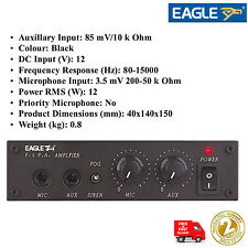 EAGLE MOBILE PA AMPLIFIER 12V 12W MICROPHONE & AUX INPUT AND FOG SIREN OUTPUT