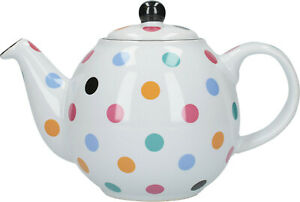 London Pottery Globe 2 Cup Traditional Teapot Gloss White & Multi Colour Spots