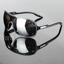 Oversize da Uomo Nero Lenti a Specchio Occhiali Sole Moda Retro Vintage Anni 80