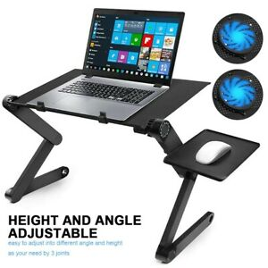 Adjustable Portable Laptop Bed Table Stand Lap Tray Foldable Desk w/ Cooling Fan