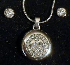 parure bijou neuf pendentif peace and love relief boucles clou cristal diamant