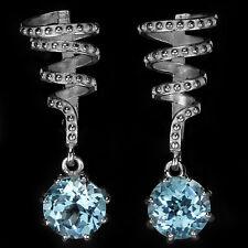 Sterling Silver 925 Genuine Natural Sky Blue Topaz Swirl Design Earrings