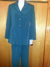 Kasper A.S.L. petite size 2 women's silk pants suit green NEW with tags