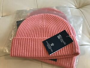 Johnstons of Elgin Cashmere Beanie Made in Scotland Hat Ribbed Coral Peach Pink