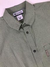 Columbia Sportswear Green Checks Casual Shirt Men's Short Sleeve Sz XL EUC A114