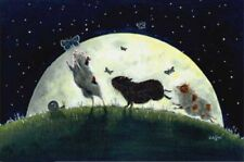 Guinea Pig moon art print limited edition from original painting Suzanne Le Good