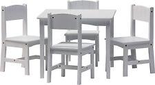 Set di mobili per bambini - ENZO - Tavolo e 4 sedie legno bianco ragazzi ragazza
