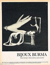 PUBLICITE ADVERTISING 065  1966  Les bijoux BURMA