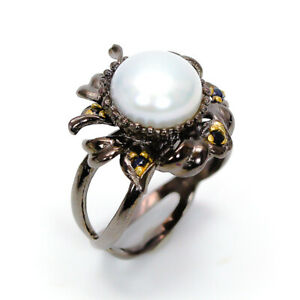 Natural Pearl 925 Sterling Silver Ring Size 7/RF18-0361
