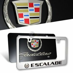 NEW 3D CADILLAC ESCALADE Stainless Steel License Plate Frame -2PCS Front & Back