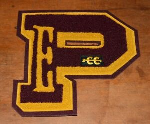 "HUGE 8 1/4"" 1950's HS Varsity Letter ""P"" Letterman Patch-Chenille-Cross Country"