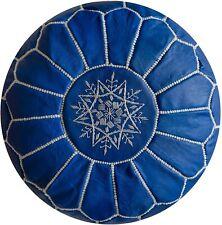 "Moroccan Leather Pouf Handmade Luxury Pouffe Blue Sky 14x20"" Floor Cushion"