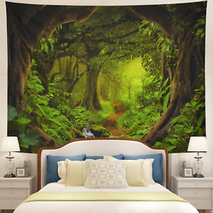 Tushelia Forest Tapestry Nature Tree Cave Tapestry Wall Hanging Misty Forest Tap