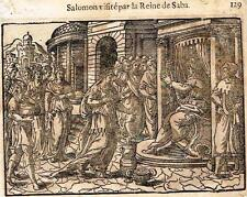 "Leclerc's Bible Figures - Woodcut - ""SALOMON VISITED BY QUEEN OF SHEBA"" -1614"