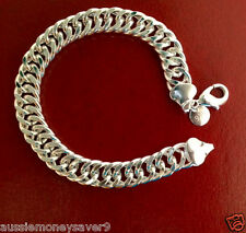 Hallmark 925 sterling silver P Mens Bracelet figaro Link chain 10mm FREE GIFT B