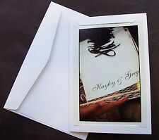 10 White Blank Photo Cards with 2 STRAIGHT  SLITS and white envelopes