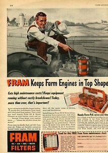 1951 Print Ad of Fram Oil Filter Farm Pack for Oliver 70 Farm Tractor