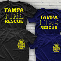 FLORIDA Firefighter Department TAMPA Fire Rescue T-Shirt Size S-3XL