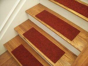 "Premium Carpet Stair Tread Sets - Rugged Red - 24"" x 8"""