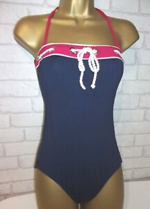 M & S  NAVY   WHITE  RED STRAPLESS    HALTERNECK   NAUTICAL   SWIMSUIT -SIZE  8