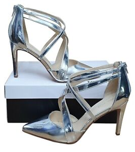 NINE WEST Zorever Ladies Stunning Strappy Silver Court Shoes Pointed MRRP £79
