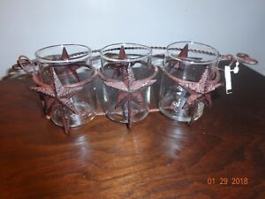 NEW COLONIAL TIN WORKS COUNTRY 3 VOTIVE CANDLE HOLDER WITH STARS