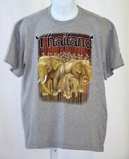"""Thailand Asian Elephant Large 42"""" Chest Light Gray Screen Print Graphic T Shirt"""