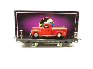 MTH 10-1149 Standard Gauge 234 Black w/Nickel flat car w/Red Pick-up truck LN