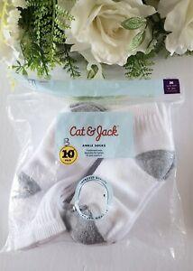 Cat And Jack Cushioned Sole Ankle Socks 8 Pairs Medium Shoe Sz 9 -21/2 White