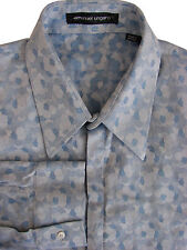 EMANUEL UNGARO Camicia da uomo 15 S BLU-BOLLE nascosto Bottoni