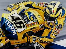 Valentino Rossi 90 x 70 cms limited edition Moto GP art print by Colin Carter
